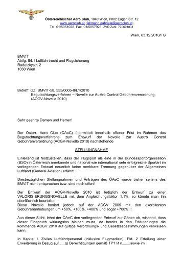 Stellungnahme zu ACGV 2010 - Österreichischer Aero-Club