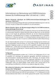 Informationen zur Bemautung nach EURO-Emissions- klassen für ...
