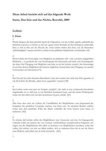Leibniz und Sartre (Alfred Dandyk) - sartreonline