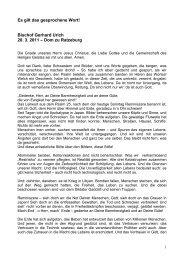 Bischof Gerhard Urich 20. 3. 2011 – Dom zu Ratzeburg - VELKD