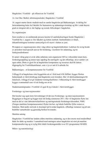 Høgskolen i Vestfold – på offensiven for Vestfold