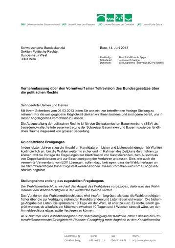 Vernehmlassung über den Vorentwurf einer Teilrevision des ...