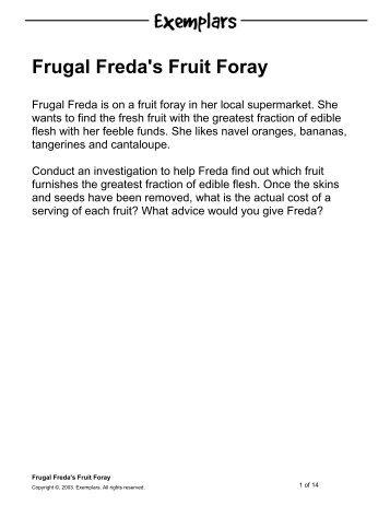 Frugal Freda's Fruit Foray
