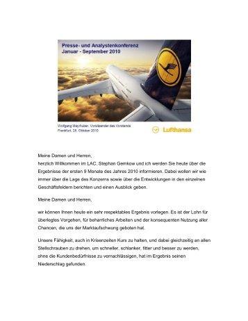 Rede von Wolfgang Mayrhuber - Investor Relations