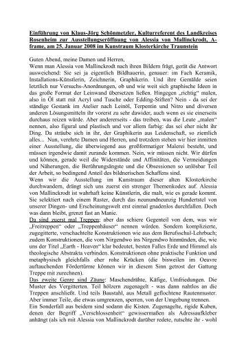 Klaus-Jörg Schönmetzler / Ausstellungseröffnung Klosterkirche ...