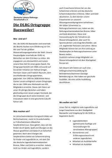 Die DLRG Ortsgruppe Baesweiler! - Bezirk Aachen eV - DLRG