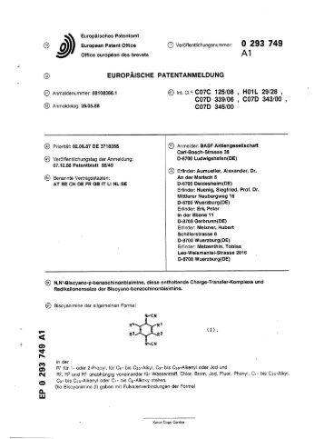 N,N'-Biscyano-p-benzochinonbisimine, diese enthaltende Charge ...