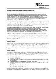 Nachhaltigkeitsvereinbarung für Lieferanten - BKB