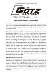 Langstreckenmeisterschaft Nürburgring / Lauf 6 - GÖTZ motorsport