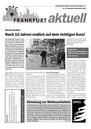 Nach 10 Jahren endlich auf dem richtigen Kurs! - ADFC Frankfurt