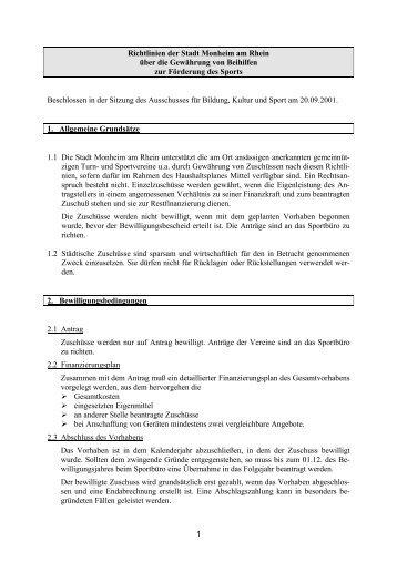 Richtlinien über die Gewährung von Beihilfen zur Förderung des ...