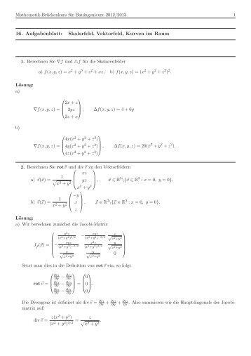 16. Aufgabenblatt: Skalarfeld, Vektorfeld, Kurven im Raum