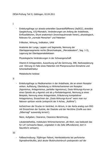 DESA-Prüfung Teil II, Göttingen, 02.04.2011 I - Einleitungsfrage zur ...