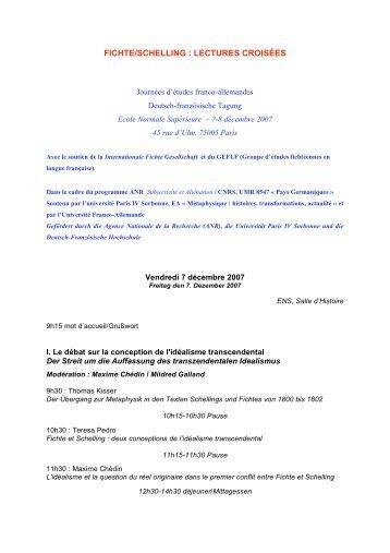 fichte/schelling : lectures croisées - Bienvenue sur Europhilosophie!