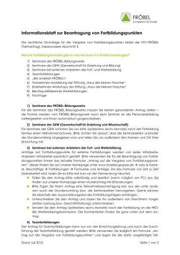 Informationsblatt zur Beantragung von Fortbildungspunkten - FRÖBEL