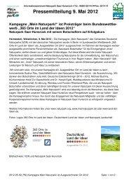 Pressemitteilung 9. Mai 2012 - Naturpark Saar-Hunsrück