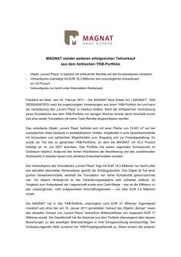 MAGNAT meldet weiteren erfolgreichen Teilverkauf aus dem ...