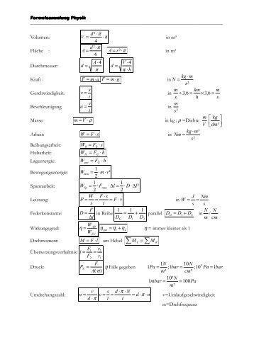 Volumen: In M³ Fläche : π In M² Durchmesser: π 4⋅ U003d A