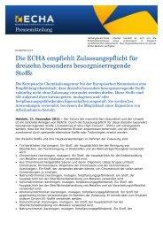 Die ECHA empfiehlt Zulassungspflicht für dreizehn ... - ECHA - Europa
