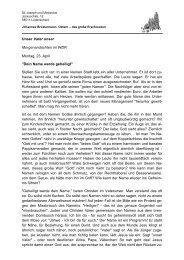 Unser Vater unser Morgenandachten im WDR Montag, 23. April ...