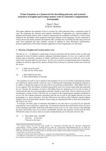 Frame Semantics as a framework for describing polysemy ... - ucrel