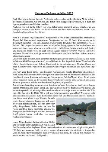 Reisebericht Tansania Deluxe 2012 - Tansania Safaris
