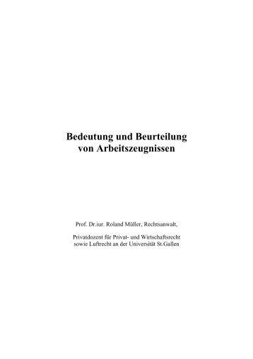 Bedeutung und Beurteilung von Arbeitszeugnissen - Müller Eckstein ...