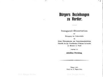 Beziehungen - Leben und Werk des Dichters Gottfried August Bürger