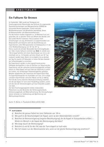 A R B E I T S B L A T T  Ein Fallturm für Bremen - Friedrich Verlag