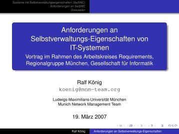 Anforderungen an Selbstverwaltungs-Eigenschaften von IT-Systemen