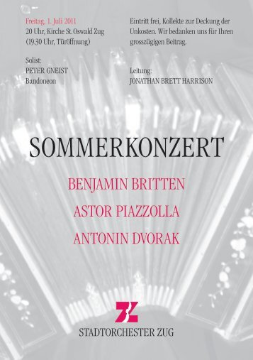 Programm Sommerkonzert 1. Juli 2011 - Stadtorchester Zug