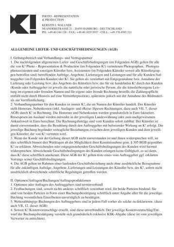 ALLGEMEINE LIEFER- UND ... - k! - representation