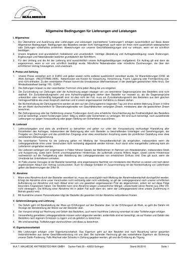 Allgemeine Bedingungen für Lieferungen und Leistungen - M.A.T. ...