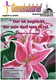 Aus dem Inhalt: Aus dem Inhalt: - Evangelische Pfarrgemeinde Traun