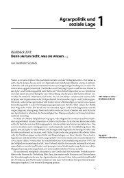 Agrarpolitik und soziale Lage 1 - Der Kritische Agrarbericht