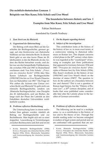 The boundaries between rhetoric and law; Die rechtlich ...