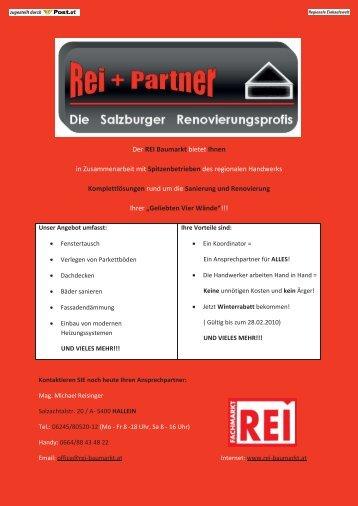 Der REI Baumarkt bietet Ihnen in Zusammenarbeit mit ...