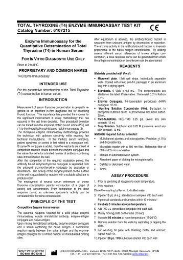 TOTAL THYROXINE (T4) ENZYME IMMUNOASSAY TEST KIT ...