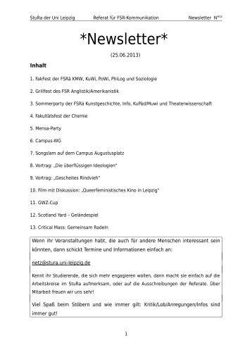 13. Newsletter 25.06.2013 - StuRa Universität Leipzig