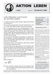 Rundbrief 03/2006 als PDF - AKTION LEBEN e.V