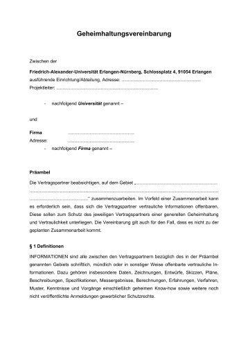 Muster Für Eine Geheimhaltungsvereinbarung Bei Prüfungsarbeiten