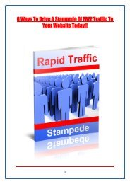 6 Ways To Drive A Stampede Of FREE Traffic To Your Website Today!!