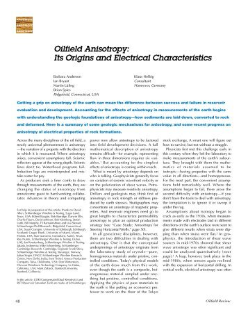Oilfield Anisotropy: Its Origins and Electrical ... - Schlumberger