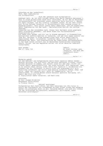 Seite 1 Schreiben an den Landsfürstl. HHrn. Wahl ... - Zwettl