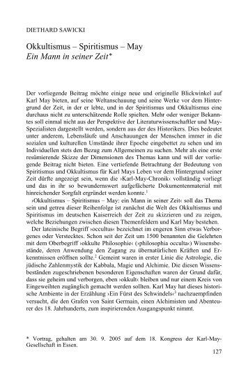 Okkultismus – Spiritismus – May Ein Mann in seiner Zeit* - Karl-May ...