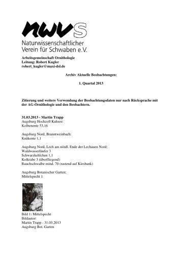 Aktuelle Beobachtungen 1. Quartal 2013
