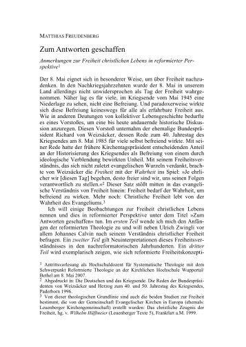 Matthias Freudenberg, Zum Antworten ... - reformiert-info.de