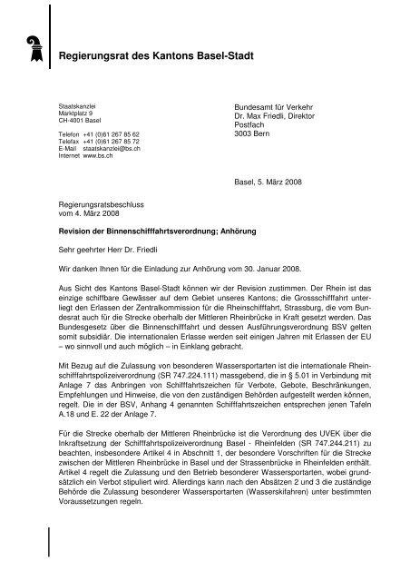 Revision Binnenschifffahrtsverordnung - Regierungsrat