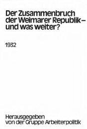 Der Zusammenbruch der Weimarer Republik- und was weiter?