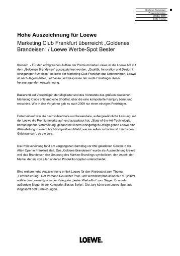 Hohe Auszeichnung für Loewe Marketing Club Frankfurt überreicht ...